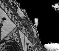Saint Jean Baptiste (aurelcaux) Tags: abstract architecture urban btiment structure abstrait diagonale gomtrique infrastructure lignes motif poutre grey lyon city cityscape extrieur blackandwhite cathdrale old ancien sky clouds