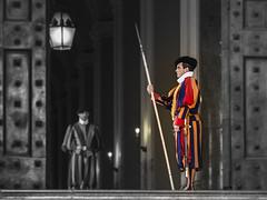 Custodes Helvetici..... (JJPS Photo) Tags: rome city colors vatican people black white