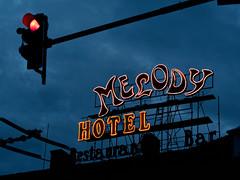 Melody Hotel, Cluj-Napoca (fotobardamu) Tags: melody hotel cluj romania transylvania night sky stoplight neon light restaurant bar
