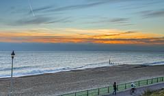 Promenade (nicklucas2) Tags: seascape beach sand sea seaside sunset bicycle cloud