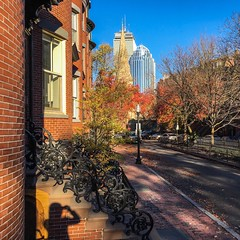 South End, Boston ((Jessica)) Tags: southend sunny boston massachusetts newengland autumn fall shadow brownstones downtown brick selfieshadow