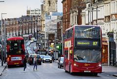 London General EH34 YX13BKG Route 87 Clapham Junction (TfLbuses) Tags: tfl public transport for london red double decker hybrid buses alexander dennis enviro 400 go ahead general