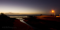 Twilight Creek 3 (C & R Driver-Burgess) Tags: coast shore estuary river sunset dusk evening twilight streetlamp orange glow reflection stars venus creek stream clouds gloaming beach