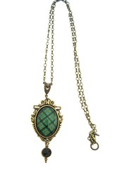 Ancient Romance Series - Scottish Tartans Collection - Kincaid Clan 18x25mm Ornate Filigree Necklace w/Sgian Dubh Charm