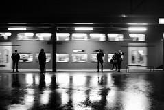 Giesshübel (maekke) Tags: zürich giesshübel szu trainstation train reflection rain man woman streetphotography fujifilm x100t bw noiretblanc 2016 ch switzerland publictransport