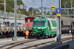 MBC Ge 4/4 at Morges workingthe interchangetrack with the SBB (pchurch92) Tags: switzerland morges ge44 mbc bam