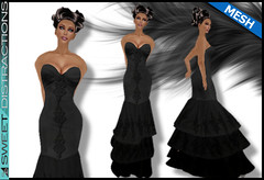 Mesh Tiered Lace Mermaid Gown in Black (Sweet Distractions) Tags: life mesh sweet lace sl bridesmaid second gown mermaid rigged distractions