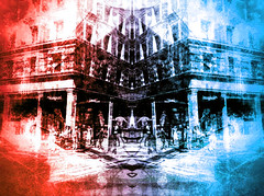 """The Hot and Cold Cafe (""""Cisco Kid"""") Tags: street abstract color texture photoshop buildings mirror structure dual"""