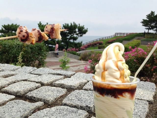 日本海を肴にノンアルコールで乾杯!!|米山SA(下り)