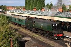 """Bulleid unrebuilt Pacific """"Manston"""" waits to head south with a """"local"""" service. (kitmasterbloke) Tags: heritage leicestershire steam locomotive loughborough greatcentralrailway"""