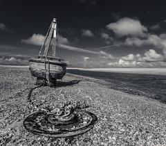 B&W Buoy (grbush) Tags: bw beach monochrome blackwhite norfolk wells g3 buoy wellsnextthesea