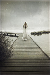 like the morning dew (biancavanderwerf) Tags: wood light woman plants white mist lake texture water girl fog walking landscape movement nevel model dress mysterious steiger