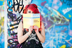 Mental Arithmetic (Anya Holloway Reading Pythagorean Hodograph Curves), Banksy Tunnel London (flatworldsedge) Tags: street blue portrait art yellow t graffiti book paint alt curves banksy tunnel victoria spray scrawl dye holloway redhair anya leake pythagorean dyedhair rida hardback farouki hodograph leakest vision:outdoor=0743
