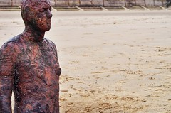 Watching (xhupf) Tags: colour beach statue liverpool olympus ironman hdr omd anotherplace