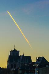 Divine Fire (Falcdragon) Tags: winter sunset sky church evening cathedral belgium minolta sony beercan contrails église a7 747 liège minolta70210