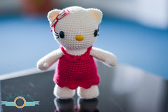 Hello Kitty (ItsyBitsyAmi) Tags: hello white cat toy eyes nikon crochet magenta kitty safety plush yarn bow ribbon amigurumi pisica d7000