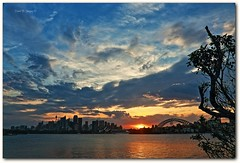 B L U S H I N G (Mark B. Imagery ) Tags: city sunset cloud color reflection water silhouette clouds geotagged photography flickr colours sydney australia nsw sydneyharbour sydneyoperahouse sydneyharbourbridge cremornepoint markbimagery