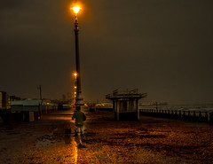 A man out fon a run in Brighton sea front at nite (Trigger1980) Tags: sea dog west wet nikon brighton westsussex windy front nite runing d7000 nikond7000 mygearandme