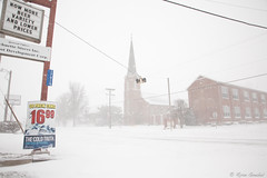 The Cold Truth (GlobalGoebel) Tags: road street school winter light usa 3 snow storm cold church beer weather saint st rose canon eos town illinois mainstreet midwest catholic village mark iii ad il advertisement 5d intersection blizzard smalltown busch mark3 unincorporated buschlight markiii 24105mm canonef24105mmf4lisusm fourwaystop polarvortex