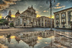 Piazza Duomo - Catania (CONTROTONO) Tags: street longexposure light sky cloud cold color building art love church fountain beautiful sunshine statue museum clouds photoshop sunrise hydrant painting liberty shower mirror flooding colorful paint day floor cathedral skin cloudy outdoor exploring explorer freezing palace drop spray ceiling lampost freeze dome granite colored column marble splash drama exploration hdr soaking splashing photomatixpro explored skyarchitecture controtono