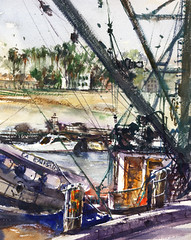 San Pedro (Sherry Schmidt) Tags: california fish art water watercolor painting palms harbor boat fishing ship watercolour hillside nets pleinair