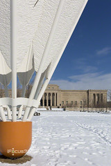 close shuttlecock in snow (ipicture365) Tags: white snow museum day lawn sunny mo kansascity missouri kc nelsonatkins shuttlecock