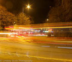 Bus Streak (Lindzze Scott) Tags: park longexposure bus tree art lights waterfall model stream traffic sheffield yorkshire roundabout endcliffe