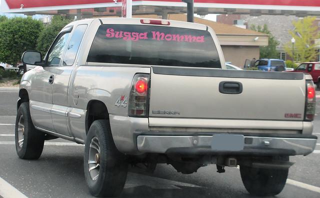 truck sticker funny gm 4x4 decoration pickup pickuptruck sierra decal misspelled gmc taillights madeinusa americanmade fourwheeldrive generalmotors 2000s 12ton generalmotorscorporation extendedcab eyellgeteven suggamomma