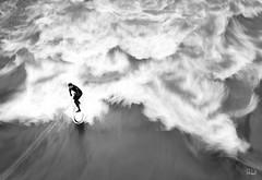 River surfing (Alex Schubert) Tags: blackandwhite bw white black river long exposure waves dynamic surfer board surfing sw graz mur schwarz weis riversurfing