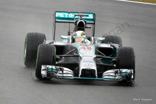 Lewis Hamilton in his Mercedes during Free Practice 3 at the 2014 British Grand Prix