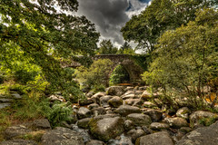 Rocky river (Anthony Plancherel) Tags: architecture category dartmoor dartsmeet devon england nonbuilding places travel architecturephotography travelphotography trees stones boulders stonebridge roadbridge river riverbank greenery clouds greyclouds cloudysky sky nature canon1585mm canon70d canon hdr uk unitedkingdom britain greatbritain british english landscapephotography outdoor