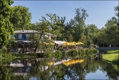 (David Gilson) Tags: reflection restaurant trees sky green blue water lake nikon amsterdam holland netherlands europe