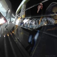 Just keep on running (Lemon~art) Tags: halloween fear bridge running woman mask skeleton photomanipulation layers
