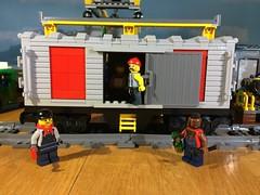 Lego Train Box Car MOC (woodrowvillage) Tags: lego legos train box car moc rails railway locomotive tracks mr t bum hobo minifigure mini figures toy build block brick woodrow village