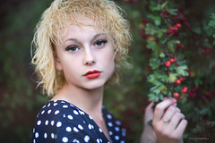 Among trees (slawomirsobczak) Tags: amorous blonde bluedress bokeh green leaves trees whitedots natural light