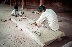 Chipping away | Agra | India (sindit) Tags: stoneworkers tajmahal agra india craftsmen carving stone restoration intricate pattern coolscan nikonf craftsmanship vuescan craft sculpture artisans arts asia film analog 85mmf2ai ls50
