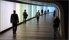 Patience (Mabacam) Tags: 2016 london station tunnel lightwalltunnel lightwall integratedledlighting stpancrasinternational kingscross pedestrian pedestrians people