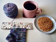 Ahhhh...sock knitting, tea and treats. (andigal01) Tags: knitting socks tea cookie