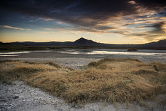 Mud Flats (magnetic_red) Tags: mud water mountains grass clouds sunset goldenhour deathvalley tecopa 3 step gnd