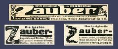 Drei Kleinanzeigen fr Zaubereiartikel aus einem Magazin von 1914 (altpapiersammler) Tags: alt old vintage werbung werbegrafik werbezeichnung artdesign advertising ad anzeige zeichnung zeitungsanzeige drawing draw