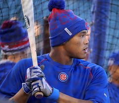 Cubs shortstop Addison Russell takes batting practice before NLCS Game 6. (apardavila) Tags: nlcs postseason addisonrussell baseball battingpractice chicagocubs majorleaguebaseball mlb sports wrigleyfield