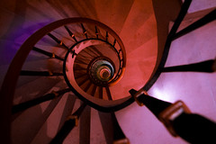 Christmas? (fs.photovideo) Tags: christmas xmas edifcio2000 stairs spiral stairway lights color colors colorful labirinth leiria portugal red redlight purple shadow dark