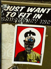 I Just Want to Fit In (Steve Taylor (Photography)) Tags: dollar insurgency inc fitin nazi robot terminator art streetart sticker black green white red soldier skull