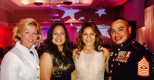 Celebrating the Marine Corps Birthday with the Guest of Honor Sgt. Maj. Vincent Santiago, 3rd Marine Division Sergeant Major, his wife and his sister, who is a Navy reservist in my unit in Guam. Sgt. Maj. Santiago was born and raised in Merizo, Guam. His