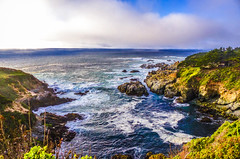 """Fog Rolling In""   Big Sur Coastline, California (Cathy Lorraine) Tags: bigsur coastline califonia bright scenery seaside pacificocean fog bluesky sunshine stateroute1 beach nature blue light water sky"