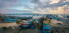 The Pier at Jimbaran (ben_leash) Tags: blue jimbaran djimbaran bali indonesia panorama panoramic landscape evening sunset boats sea pier marine fishing baskets clouds cloudy sky sony a77