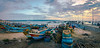 The Pier at Jimbaran (ben_leash) Tags: blue jimbaran djimbaran bali indonesia panorama panoramic landscape evening sunset boats sea pier marine fishing baskets clouds cloudy sky sony a77