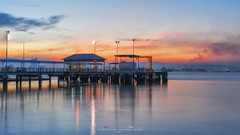 Lim Jetty (姓林桥) - Boat or Ferry. (Ah Wei (Lung Wei)) Tags: penang penangisland georgetown pulaupinang malaysia georgetownpenang my sunrises sunset sunsets longexposure landscape shore clouds nikon50mmf18g 50mmf18g nikond750 nikon ahweilungwei fullframe fx limjetty limjettypenang reflection inverted sunrise