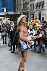 Naked Cowboy Campaigns for Donald Trump Outside Trump Tower (picturetakingone) Tags: crowd trump tower new york cow boy naked campaign republican president 2016 election song sing nakedcowboy victory win