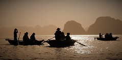 Three small boats (yanoche) Tags: halong halongbay bay vietnam hat boat fisher tourist relax barque sepia backlight lighting